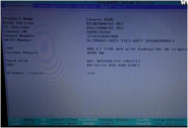 Как войти и настроить BIOS ноутбука LENOVO G500, G505 для установки