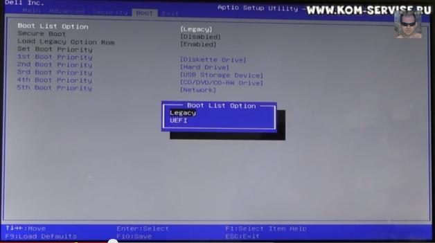 Настройка BIOS ноутбука DELL для установки WINDOWS 7 с флешки или диска